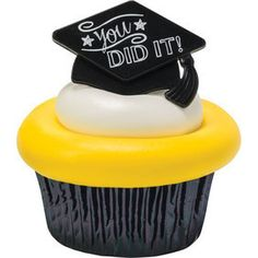 "Add these to your Graduation Treats 2 Styles Black Caps printed with ""You DID IT!"" & ""GRAD"" Perfect for your Graduate *Note: Rings only *We all so have sets with color cups* Graduation Desserts, Graduation Cupcake Toppers, Graduation Party Foods, College Graduation Parties, Graduation Cupcakes, Graduation Cap Decoration, Graduation Diy, Graduation Invitations, Grad Parties"