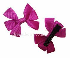 Purple grosgrain ribbon hair bows on alligator clips - www.dreambows.co.uk