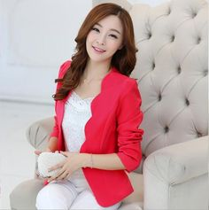 e7411516061a Ladies Blazers and Coats Office Wear Work Long Sleeve Black White Small  Suit Bodycon Short Blazer Jackets Women Coat Female