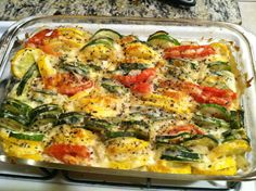 *Click for recipe* Baked garlic veggies! (Sliced zucchini, yellow squash, tomatoes, onions, olive oil  part-skim mozzarella cheese baked at 400) #lowcal #lowfat #glutenfree #paleo #dinner #veggies #side