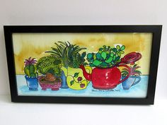 Cactus Plants in Teapots Watercolour Painting