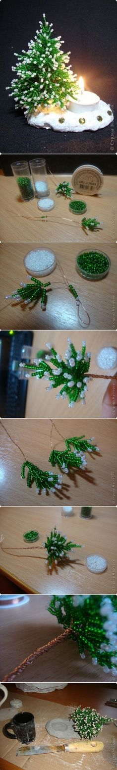 Herringbone Beans Miniature Christmas Tree. This is beautiful but I don't think I'd ever have the patience to make it!