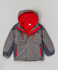 Love this Smoked Pearl & Red Systems Ski Jacket & Fleece Jacket - Boys on #zulily! #zulilyfinds