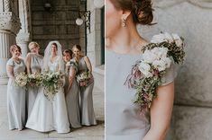 Bridesmaids in grey dresses. Anna Page Photography. Corsage Wedding, Wedding Wear, Wedding Bells, Floral Wedding, Summer Wedding, Wedding Colors, Dream Wedding, Wedding Flowers, Wedding Anniversary Poems
