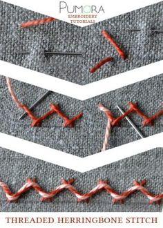 Pumora's embroidery stitch-lexicon: threaded herringbone stitch tutorial