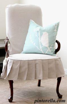 drop cloth chair ruffle slipcover