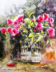 CELAL GÜNAYDIN Turkish Artist Painter Watercolor - suluboya.....33x25 cm. iyi şeyler düşünmek lazım hüznüne gebe hayatın...