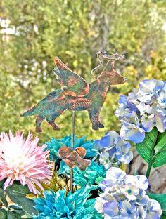 German Shepherd Art Statue / Pet Memorial / Metal Garden Art / Angel Decoration / Copper Art / Yard Art / Dog Sculpture / Garden Stake