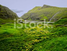 green valley on Faroer Island royalty-free stock photo