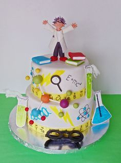 Fondant Mad Scientist Cake Topper Set, Mad Science Birthday ...