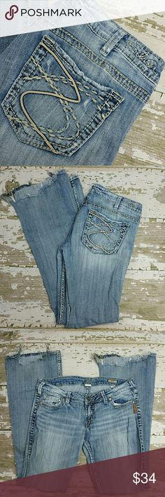 Silver Jeans Distressed condition. The bottoms are torn a bit at the feet.  30/33 Frances Flare Silver Jeans Jeans Flare & Wide Leg