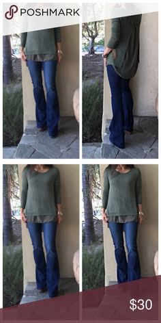 Olive green layered tunic Gorgeous Made in Italy layered knit chiffon tunic PLEASE Use the Poshmark new option you can purchase and it will give you the option to pick the size you want ( all sizes are available) BUNDLE and save 10% ( no trades price is firm unless bundled) Tops