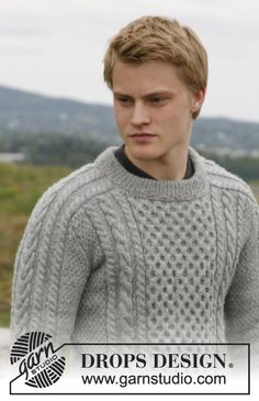 "Knitted DROPS men's jumper with cables in ""Karisma"", Puna or Merino Extra Fine. Size 13/14 years - XXXL."
