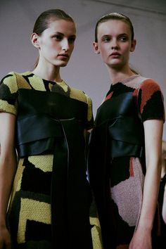 Abstracted landscape knits with leather details at J.W. Anderson SS15 LFW. More images here: http://www.dazeddigital.com/fashion/article/21682/1/j-w-anderson-ss15