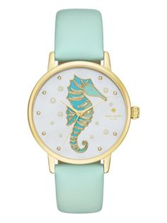 Pearl bubbles and an aqua seahorse with gold-tone accents dance across the mother-of-pearl dial of this kate spade new york® Metro watch. Anchored by a gold-tone case and mint splash leather strap, this gorgeous style is perfect for a tropical beach trip. Teal Jewelry, Anchor Jewelry, Initial Jewelry, Jewelry Accessories, Fashion Accessories, Jewellery, Horse Jewelry, Golden Jewelry, Summer Accessories