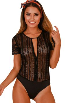 Black Button Front Sheer Floral Lace Bodysuit f7c732d61