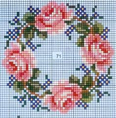free cross stitch chart garland of roses: Beaded Cross Stitch, Cross Stitch Rose, Cross Stitch Flowers, Cross Stitch Embroidery, Embroidery Patterns, Cross Stitch Designs, Cross Stitch Patterns, Bordado Tipo Chicken Scratch, Diy Broderie