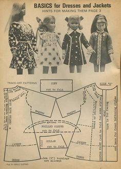 Barbie clothes patterns from the 1970s -Beautiful dolls and doll houses -