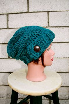 Pagoda Blue Crocheted Slouch Hat  by jennifermegandesigns  #colorofthemonth #pagoda_blue