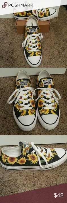 Sunflower Converse Only worn one time so they are still in brand new condition. They are just too big for me. Converse Shoes