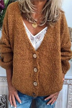 Casual Cotton-Blend V Neck Cardigan-Outerwear, Deep Khaki / XL Pullover Outfit, Cardigan Outfits, V Neck Cardigan, Long Sleeve Sweater, Sweater Cardigan, Plus Size Outerwear, Shirt Bluse, Preppy Outfits, Cardigans For Women