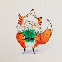 Today is my mothers birthday! Love you mummy! Thank you for teaching me how to draw! #fox #illustration #art #cute #kuretake #drawing #cartoon