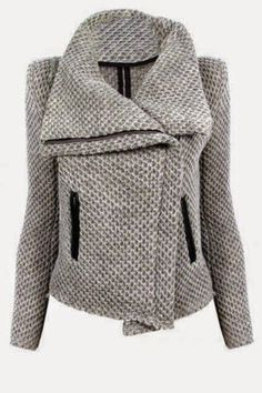 Casaul Zippered Turn-Down Collar Mesh Knitted Coat For Women - GRAY L