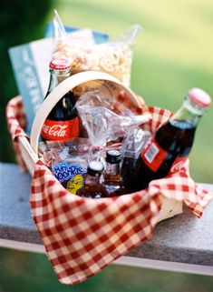 A picnic basket packed with treats is an exciting way to welcome guests to a backyard bash or a down-on-the-farm affair!