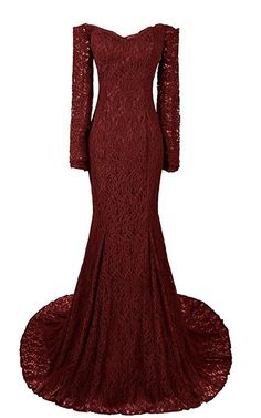 Long Mermaid Evening Dresses Sleeves Lace Prom Gowns