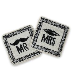 Mr. & Mrs. Needlepoint Coasters. My husband and I have Mr. and Mrs. tumblers. I'd love to throw these needlepoint coasters into the mix.
