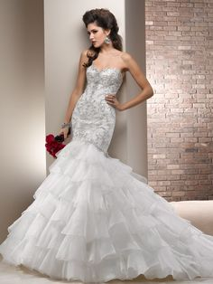 i love love love this  chic organza fit and flare wedding gown with sweetheart neck and corset closure
