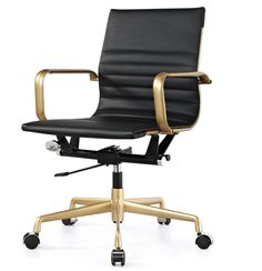 M348 Office Chair In Gold And Black Vegan Leather on Houzz