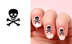 Set of 20 Skull with bones nail art decals by BeautyIsPower, $2.20