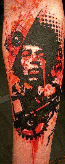 Jimi Hendrix. Amazing trash polka style. #tattoo #inked #style @Allison j.d.m Stock Azarya