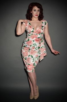 Pretty 50's style rose print Hourglass dress at Deadly is the Female