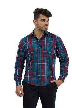 Camisa Social Masculina Xadrez Verde e Vermelho - Rellur Camisaria