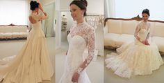 wanda borges Pretty wedding dress with sleeves bridal gown sleeved dress lace beautiful wedding party