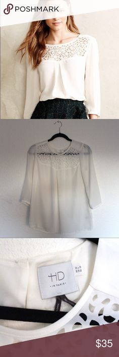 """Anthropologie HD in Paris Dara Ivory Tee Like New Condition! A feminine blouse with a delicate floral detail around the neck.  Silky polyester Lasercut collar detail Pullover styling Machine wash 27"""" in long Anthropologie Tops Blouses"""