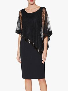 Buy Gina Bacconi Kamila Lace Cape Overlay Dress, Black, 12 O Black Work Dresses, Casual Dresses, Fashion Dresses, Dress Black, Mom Dress, Dress Shapes, Pencil Dress, Lace Sleeves, Pink Lace