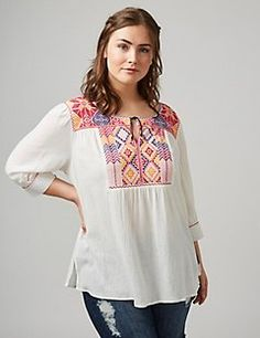 Gauzy notch-neck peasant top with embroidery. Faux tie at neck and sleeves. Item Number Length: Imported plus size top Peasant Tops, Tunic Tops, Plus Size Womens Clothing, Clothes For Women, Lane Bryant, Bell Sleeve Top, My Style, Sleeves, Cotton