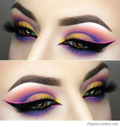 Colorful eye makeup cat eye style