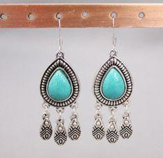JS-Western Style  Earrings 1025 Turquoise