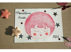 Carte de voeux Bonne année carte peint main par EphemereCollection