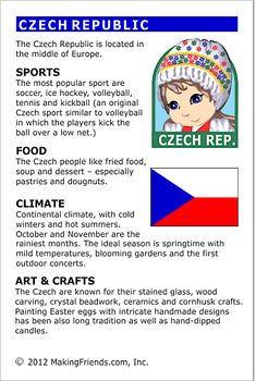 MakingFriends Facts about Czech Republic Printable Thinking Day fact card for our passports. Perfect if you chose Czech Republic for your Girl Scout Thinking Day or International Night celebration. Teaching Geography, World Geography, Teaching History, English Activities, Educational Activities, Czech Republic Flag, Worksheets, Around The World Theme, Little Passports