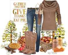 """""""Gather Together, Give Thanks, Eat Pie!"""" by tiffany-palmer-godfrey ❤ liked on Polyvore"""