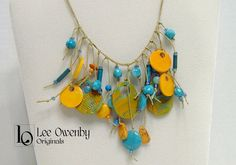 Turquoise and Orange Handmade Necklace by LeeOwenbyJewelry on Etsy