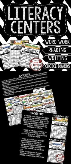 Literacy Centers that will make your life easier! Included are 12 Monthly literacy choice boards focusing on different activities for your students to do monthly/ weekly in word work, writing, and reading. The great option about this packet is that I included the homework title option if you choose to allow students to do these activities for homework. Students will enjoy the options for showing their growth in learning accountability in literacy centers!