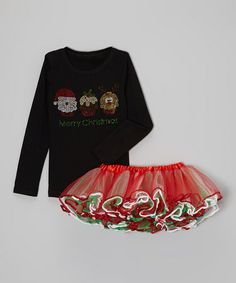 Take a look at this Black 'Merry Christmas' Cupcake Tee & Tutu - Toddler & Girls by Beary Basics on #zulily today!