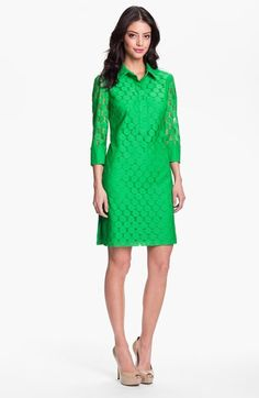 Adrianna Papell Polka Dot Lace Shirtdress available at #Nordstrom $138