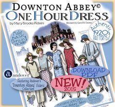 DOWNTON Abbey motif 1 heure robe Pdf livret Andover Pdf 2014-15 éd. - Vintage 1920 faire robe en 1 heure par Mary Pickens motif clapet